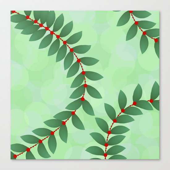 Delicate Holiday Foliage Canvas Print
