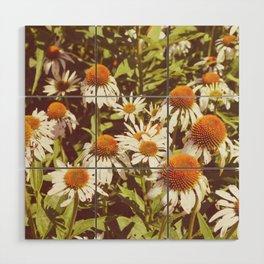 White Flowers Wood Wall Art
