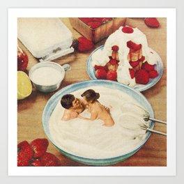Fruity - Strawberries & Cream Art Print