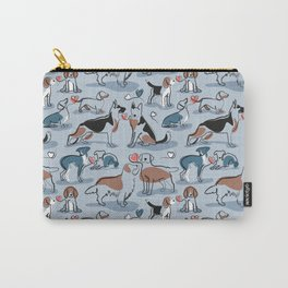Woof endless love // pastel blue background coral hearts continuous lined pair of dog breeds Carry-All Pouch