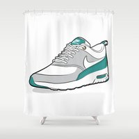 nike Shower Curtains featuring Nike Air Max Thea teal by Graphkicks