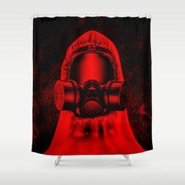 Toxic environment RED / Halftone hazmat dude Shower Curtain