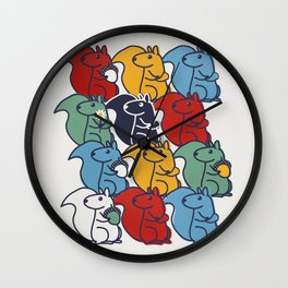 Colorful Squirrels Wall Clock