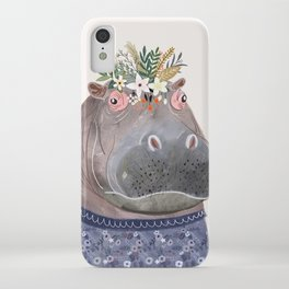 Hippo with flowers on head iPhone Case