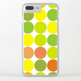 Large colorful polka dots in yellow and green Clear iPhone Case