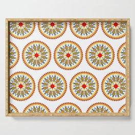 Mandala warm colour pallette Serving Tray