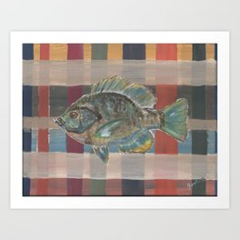 Bluegill on Earth Tone Plaid Art Print