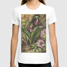 New England Lady Slipper Wild Orchids still life painting T-shirt