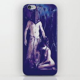 Welcome to Silent Hill - Pyramid Head v2, sexy erotic nude, cartoon in purple tones, submissive girl iPhone Skin