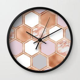 Mixed rose gold pinks and marble geometric Wall Clock
