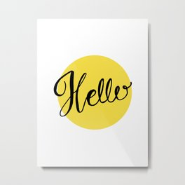 Hello Chartreuse Green Hand Lettering Metal Print
