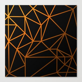 Golden Web - Black And Gold Geometric Design Canvas Print
