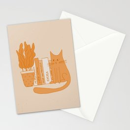 Cat, books and plants II Stationery Cards