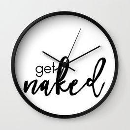 get naked (black) Wall Clock