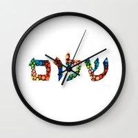 jewish Wall Clocks featuring Shalom 10 - Jewish Hebrew Peace Letters by Sharon Cummings