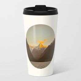 MidCentury Modern Circle Photo Parallax Mountains Distant Snow Capped Mountain With Yellow Tip Travel Mug