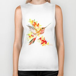 Hummingbird and Flame Colored Flowers, yellow red floral art design Biker Tank