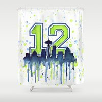 seahawks Shower Curtains featuring Seattle 12th Man Art Skyline Watercolor  by Olechka