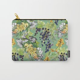 Seamless pattern with watercolor colorful summer ripe currant berries and gooseberries on green background Carry-All Pouch