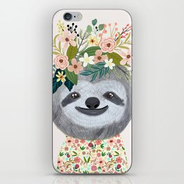 Sloth with flowers on head iPhone Skin