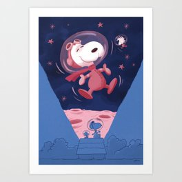 Snoopy on the moon Art Print