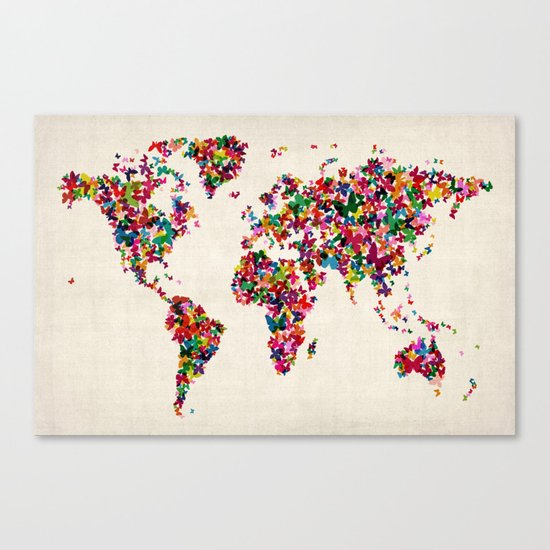 Butterflies Map of the World Map Canvas Print