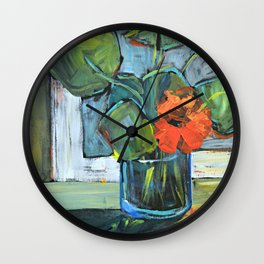 Bloom in a Blue Vase Wall Clock