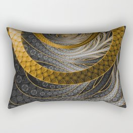Banded Dragon Scales of Black, Gold, and Yellow Rectangular Pillow