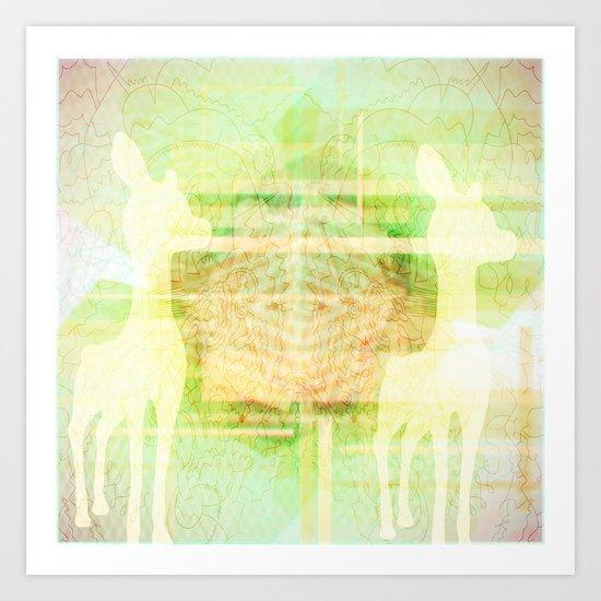 Deer Collaboration Art Print