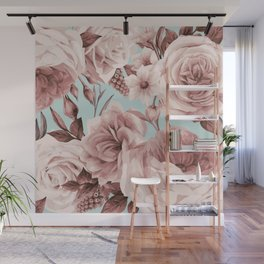 SEPIA ROSES ON GREEN Wall Mural