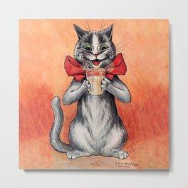 Drinking Cat-Funny Cat-Louis Wain Metal Print