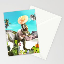UFO Dinosaur T-Rex Abduction Stationery Cards
