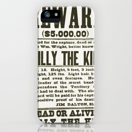 Wanted poster for Billy the Kid iPhone Case