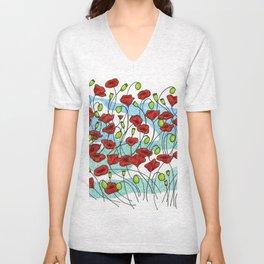 Field Poppies Unisex V-Neck