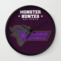 monster hunter Wall Clocks featuring Monster Hunter All Stars - BD by Bleached ink