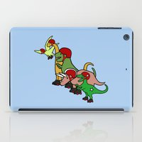 roller derby iPad Cases featuring Roller Derby Dinosaurs by Jez Kemp