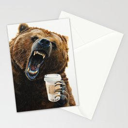 """"""" Grizzly Mornings """" give that bear some coffee Stationery Cards"""