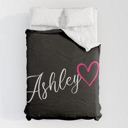 Ashley Name Calligraphy Heart Comforters