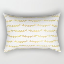 Luxe Gold Christmas Tree Branch Stripes Vector Pattern, Drawn Seamless Rectangular Pillow