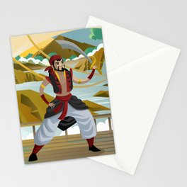 sinbad arabian sailor adventurer with sword in ship Stationery Cards