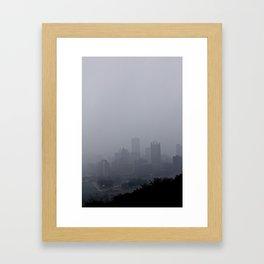 Foggy Pittsburgh Skyline Framed Art Print