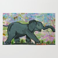 baby elephant Area & Throw Rugs featuring Baby Elephant by gretzky