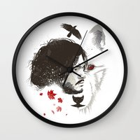 snow Wall Clocks featuring Snow by Danny Haas