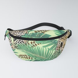 leopard print palm leaves Fanny Pack