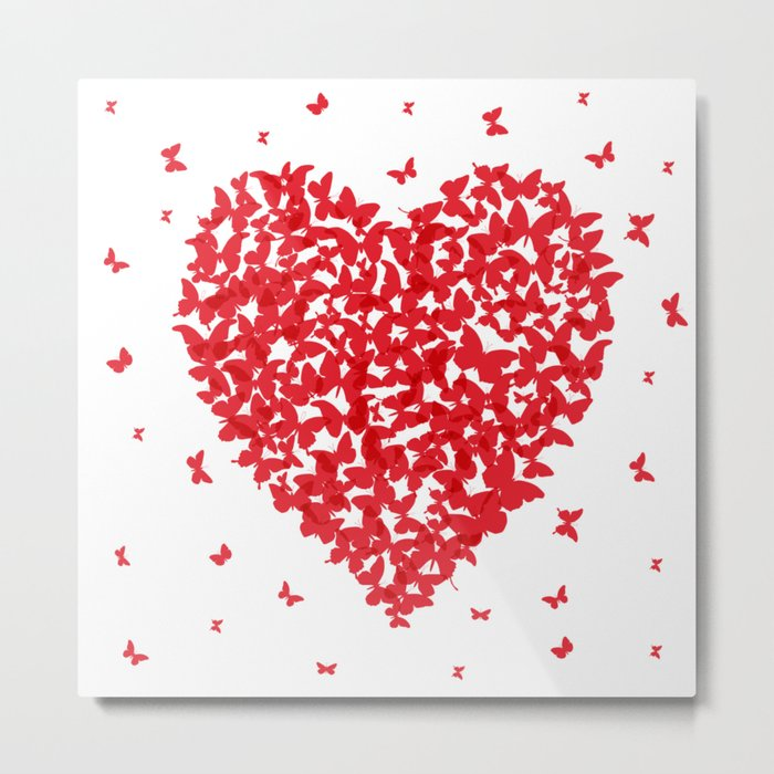 Heart - summer card design, red butterfly on white background Metal Print