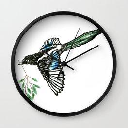 Flying Magpie Bird Wall Clock