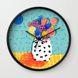 Legit - throwback abstract floral still life memphis retro 80s style vase with flowers Wall Clock