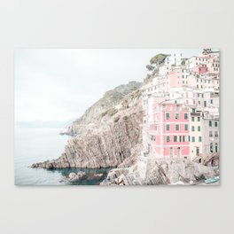 Positano, Italy pink-peach-white travel photography in hd. Canvas Print