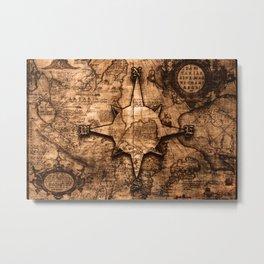 Antique World Map & Compass Rose Metal Print