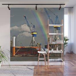 Rainbow over the port of HAMBURG Wall Mural